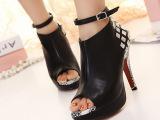 2014新款女鞋 欧美大牌款后跟全铆钉高跟鱼嘴鞋 质量超赞