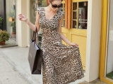 弹力冰丝豹纹性感显瘦长裙沙滩裙女装韩版V领包臀连衣裙修身夏季
