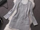 2014欧美高端精品女装秋冬羊绒金线开衫毛衣长袖外套中长款风衣