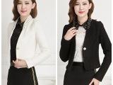 2015秋季钉珠烫钻韩版修身短款外套小西装短外套小香风外套