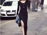 秋冬季欧美风长裙性感修身包臀开叉一步裙莫代尔波西米亚连衣裙