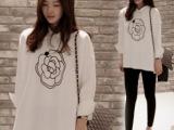 2014新款韩国孕妇装清新白玫瑰花大码娃娃小尖领宽松长袖衬衫P9