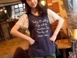 14-4-14日单森女系春装新款字母印花学院风蕾丝袖字母印花短袖
