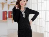 2013秋冬新款高端气质加绒加厚蕾丝包臀拼接打底裙 大码连衣裙