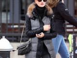 2014欧美冬装新款拼皮连帽加厚加棉千鸟格毛领大衣棉衣羊毛外套