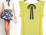 2015夏季新品速卖通绑带套衫雪纺蝴蝶结衬衫 上衣女装衬衫大码