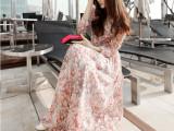 高端气质长袖连衣裙2014春夏装圆领波西米亚碎花雪纺裙长款沙滩裙