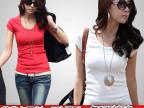韩版 夏季女装T恤 莫代尔u领打底衫 糖果百搭纯色女短袖修身衣服