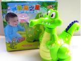 【润琳玩具】电动万向卡通鳄鱼(带2灯,音乐)淘宝热卖地摊灯光玩具