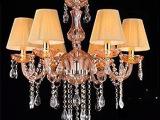 特价包邮水晶吊灯 时尚香槟色吊灯 欧式卧室书房餐厅水晶灯具