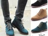 时尚高帮休闲驾车鞋 英伦潮流磨砂男鞋 系带韩版个性男士皮鞋特价
