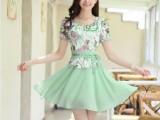 2014新款韩版女装夏装大码修身印花蕾丝打底短袖雪纺连衣裙