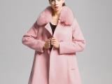 欧美新款2014秋冬品牌女装中长款宽松羊毛大衣女羊毛外套品牌代理