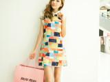 2014新款春装韩版女装 修身翻领拼接撞色格子修身雪纺无袖连衣裙