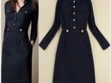 欧美风尚2014气质英伦风翻领口袋肩章修身针织连衣裙中裙6055