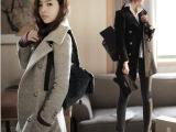 毛呢外套秋冬女装立领毛呢外套韩版双排扣中长款 呢子 修身型