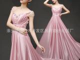 2015新款婚纱礼服 韩版双肩宴会结婚礼服长款主持人演出礼服促销