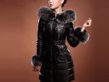 2013冬韩版高档蓝狐毛领真皮羽绒服 绵羊皮毛领连帽大衣女修身