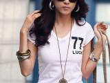 女装2014夏装韩国T恤印花V领百搭纯棉短袖T恤女小衫 批发一件