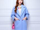 2014秋冬新款韩版羊毛呢子大衣中长款修身韩版小香风毛呢外套女装