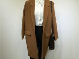秋冬新款韩版女式外套 翻领OL风修身长款纯色韩国风衣外套1786