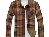 NIAN JEEP青年大码长袖衬衫男士休闲格子布衬衣品牌男装批发