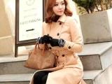 韩版华丽大气中长款反领双排扣时尚羊毛大衣