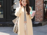 女装秋季新款风衣 羊毛翻领毛呢外套 韩版暗扣毛呢大衣女批发