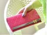 2014新款韩版时尚简约糖果色菱格蝴蝶结包边女士长款皮夹钱包皮夹