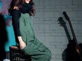 【三月出品】宇津木原单大裆裤绿色吊档裤连体吊带裤孕妇背带裤
