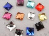 10X10mm正方形水晶散珠子玻璃钻平底钻 手机贴钻 正方平底玻