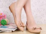 欧美女单鞋 真牛皮尖头蝴蝶结平底平跟休闲女单鞋子现货一件代发