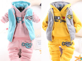 2014冬季新款童装小童加棉加厚卡通卫衣套装婴儿冬季衣服0-4岁