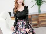 2014新款韩版修身显瘦长袖连衣裙 镂空拼接雪纺蕾丝连衣裙