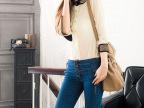 2014夏女 经典百汇个性贴珠领七分无扣袖雪纺 复古七分袖衬衫