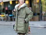 厂家直批2014欧美大牌新款女装军工中长款羽绒服加厚羽绒外套