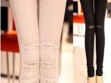 2014春新款女装烫钻修身打底裤弹力白色紧身显瘦休闲裤 一件代发