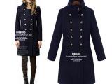 淘宝新款毛呢大衣女 春季时尚欧美毛呢外套 蓝色收腰大衣女士外套