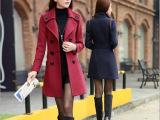 韩国东大门秋冬新款女装韩版修身毛呢外套女中长款大衣