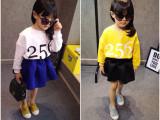 2015春装女童圆领短款卫衣T恤 字母儿童套头蝙蝠衫一件代发批发