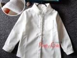 秋冬韩版女童长袖白衬衫儿童装打底衫纯棉白衬衣加绒蕾丝花边领衫