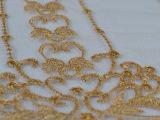 汕头绣花厂家直销加工水溶满幅网布金线电脑刺绣重工女装面辅料