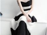 2014新款黑白条纹无袖连衣长裙 甜美雪纺裙