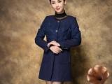 2014冬季新款高端品牌女装蓝色羊毛呢女外套大衣批发代理免费加盟