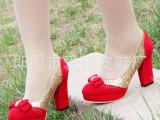 2014春季新款红色新娘鞋 结婚鞋婚礼鞋红鞋伴娘鞋粗跟高跟女单鞋
