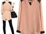 2014新款复古日单长袖蕾丝装饰纯色连衣裙 爆款推荐长袖衬衫裙F