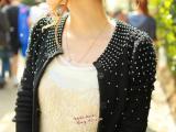 批发 2014春秋新款原单珍珠铆钉泡泡袖毛衣 针织开衫 一件代发