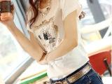 2014春夏新款女装潮韩版修身纯棉圆领短袖女士T白色t恤