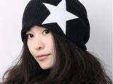 韩版 男女款秋冬五角星宽松非主流套头帽 针织帽情侣毛线帽子
