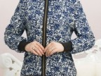 中老年女装 夹克薄款外套 大码中年女妈妈装长袖短款拉链夹克厂家